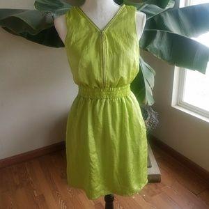 Vtg Walter Baker Womans Small Dress Lime Green Zip